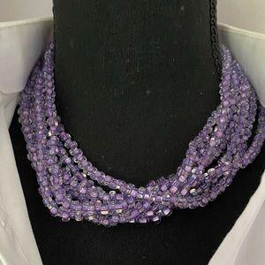 Purple Multi Strand Square Crystal Bead Necklace